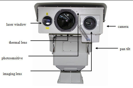 PTZ Infrared Night Vision Thermal Camera , Long Range Surveillance Camera